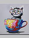 Hang målad oljemålning HANDMÅLAD - Djur Popkonst Moderna Duk