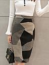 Dame Fuste-Linie A Geometric Împărțit-Ieșire Șic Stradă-Talie Inaltă Lungime până la genunchi Fermoar Polyester / Lână Micro-elastic