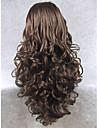 Syntetiska peruker Vågigt Syntetiskt hår Naturlig hårlinje Brun Peruk Dam Lång Spetsfront