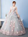 Haine Bal Prințesă Bijuterie Lungime Podea Tulle Seară Formală Rochie cu Arc de Embroidered Bridal