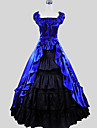 Victorian Costume Women\'s Dress Skirt Blue Vintage Cosplay Charmeuse Cotton Short Sleeves Cap Ankle Length