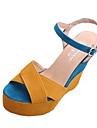 Women\'s Wedge Sandals PU(Polyurethane) Spring / Summer Sandals Wedge Heel Round Toe Yellow / Wedge Heels