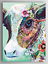Oil Painting Hand Painted - Abstract / Animals Modern Canvas