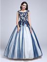 De Baile Scoop pescoco Longo Renda sobre Tule Color Block Evento Formal Vestido com Micangas / Apliques de TS Couture®