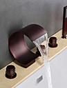 Contemporan Vană și Duș Cascadă Împrăștiat Duș De Mână Inclus Valvă Ceramică Cinci Găuri Trei Mânere Cinci Găuri Bronz patinat , Robinete