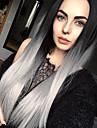 Synthetische Perücken Damen Glatt Grau Synthetische Haare Gefärbte Haarspitzen (Ombré Hair) / Dunkler Haaransatz / Mittelscheitel Grau Perücke Lang Kappenlos Grau StrongBeauty