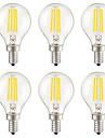 KWB 6pcs 3W 400 lm E14 E12 E26/E27 Bec Filet LED G45 4 led-uri COB Intensitate Luminoasă Reglabilă Decorativ Alb Cald AC 220-240 AC 110 -