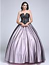 De Baile Sem Alcas / Decote em V-wire Longo Renda sobre Tule Color Block Evento Formal Vestido com Micangas / Renda de TS Couture®