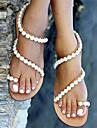Damă Pantofi PU Primăvară Vară Toamnă Sandale Toc Jos Mărgele Pentru Casual Rochie Party & Seară Bej Migdală