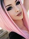 Femme Perruque Synthetique Lace Front Raide Rose Raie Centrale Ligne de Cheveux Naturelle Coupe Carre Perruque Naturelle Perruque