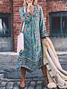 Pentru femei Concediu Boho Swing Rochie - Franjuri, Curcubeu V Adânc Talie Inaltă Asimetric Albastru
