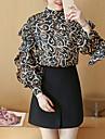 Dame Rotund Bluză Ieșire Sofisticat,Imprimeu Manșon Lung Primăvară-Roșu Negru Mediu Poliester