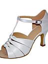 Pentru femei Pantofi Dans Latin / Pantofi Jazz / Pantofi Salsa Satin Sandale / Călcâi Cataramă / Volane Toc Personalizat Personalizabili