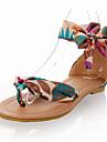 Damă Pantofi Țesătură Vară Toamnă Sandale Toc Plat Vârf rotund Funde Dantelă Flori Pentru Casual Rochie Negru Galben Albastru
