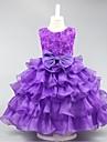 rochie de mireasa scurta / mini rochie fata rochie - organza gât de bijuterie fără mâneci cu maneci de mii