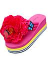 女性用 靴 PUレザー 夏 スリッパ&フリップ・フロップ フラットヒール ラウンドトウ フラワー ブラック / イエロー / フクシャ