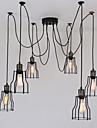 6 capete vintage arta deco negru cușcă lumini pandantiv pandantiv creative diy camera de zi sala de mese Spider suspensie lampă