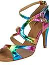 Pentru femei Pantofi Salsa Imitație de Piele Sandale / Călcâi Cataramă / Volane Toc Personalizat Personalizabili Pantofi de dans Curcubeu
