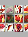 Pictat manual Floral/Botanic Pătrat,Modern Mai Mult De Cinci Panouri Canava Hang-pictate pictură în ulei For Pagina de decorare