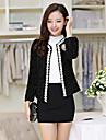 Damă Rotund Jachetă Zilnice Clasic & Fără Vârstă,Culoare solidă Manșon Lung Primăvară Toamnă-Regular Ștrasuri N/A