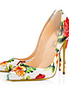 Damă Tocuri Primăvară Vară Toamnă Confortabili Noutăți Piele Nuntă Rochie Party & Seară Toc Stiletto Flori Alb Plimbare
