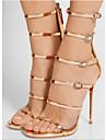 Damă Sandale Primăvară Vară Toamnă Confortabili Noutăți PU Outdoor Birou & Carieră Rochie Party & Seară Toc Stiletto Auriu Negru Plimbare