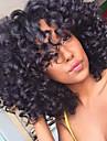 Syntetiskt hår peruker Afro Lockigt Till färgade kvinnor Afro-amerikansk peruk Utan lock Naturlig peruk Mellan Svart