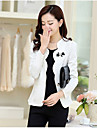 Women\'s Going out Casual/Daily Cute Spring Summer Blazer,Solid V Neck Long Sleeve Short Polyester