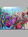 Pictat manual Abstract Floral/Botanic Orizontal,Modern Un Panou Canava Hang-pictate pictură în ulei For Pagina de decorare