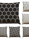 6 pcs Lin Taie d\'oreiller Housse de coussin, Couleur Pleine Geometrique Texture Plage Soutenir Traditionnel/Classique