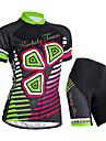 Nuckily Dam Kortärmad Cykeltröja med shorts - Svart Blommig/Botanisk Cykel Shorts Tröja Klädesset, Vattentät, UV-Resistent,