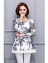 2017 primăvară noi de femei de dimensiuni mari dantelă camasa de imprimare cu mâneci lungi tricou și secțiuni lungi în vrac bluze