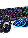 Backlit usb tastatură cu fir cu fir și set mouse-ul cu lumini de respirație cască 3 piese un kit