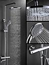 Contemporan Montaj Perete Termostatic Valvă Ceramică Două mânere trei găuri Crom , Robinete de Duș