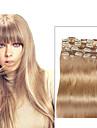 A Clipser Extensions de cheveux humains Cheveux humains Droit Femme Quotidien