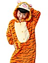Kigurumi-pyjamas Tiger Onesie-pyjamas Kostym Flanell Orange Cosplay För Pyjamas med djur Tecknad serie halloween Festival / högtid