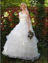 Haine Bal Pe Umăr Lungime Podea Organza Made-To-Measure rochii de mireasa cu Mărgele / Aplică / Rochie Pick Up de LAN TING BRIDE®