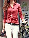 femei camasa cu guler de culoare solidă mânecă lungă T-shirt