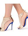 Pentru femei Pantofi Sintetice Primăvară / Vară Pantof cu Berete Sandale Toc Stilat Pantofi vârf deschis Cataramă / Combinată Albastru / Nuntă / Party & Seară / Party & Seară