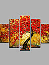Oil Painting Hand Painted - Floral / Botanical Modern Canvas Five Panels