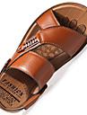 Bărbați Pantofi Piele Primăvară / Vară Confortabili / Tălpi cu Lumini Sandale Plimbare Negru / Maro / Kaki