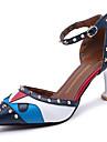 Pentru femei Pantofi PU Vară Confortabili Sandale Toc Stilat Rosu / Verde / Albastru