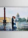 HANDMÅLAD Landskap Vertikal, Abstrakt Duk Hang målad oljemålning Hem-dekoration En panel