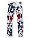 Bărbați Drept Șic Stradă Talie medie,Inelastic Blugi Pantaloni Floral Imprimeu