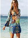 Femme Boheme Vacances / Plage Boheme Mini Gaine Robe - Imprime, Graphique V Profond Ete Bleu L XL XXL Manches Longues