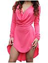 Γυναικεία Βαμβάκι Φαρδιά Φόρεμα - Μονόχρωμο Ασύμμετρο Λαιμόκοψη V