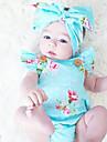Bebelus Fete O - piesă Vintage Modă Bumbac Vară Fără manșon Floral Albastru piscină