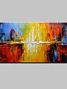 HANDMÅLAD Abstrakt Horisontell, Europeisk Stil Moderna Duk Hang målad oljemålning Hem-dekoration En panel