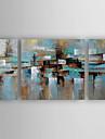 HANDMÅLAD Abstrakt Horisontell, Abstrakt Ny ankomst Modern Duk Hang målad oljemålning Hem-dekoration Tre paneler