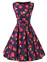 Damă Ieșire Vintage Swing Rochie-Floral Fără manșon Rotund Lungime Genunchi Bumbac Toate Sezoanele Talie Medie Inelastic Mediu